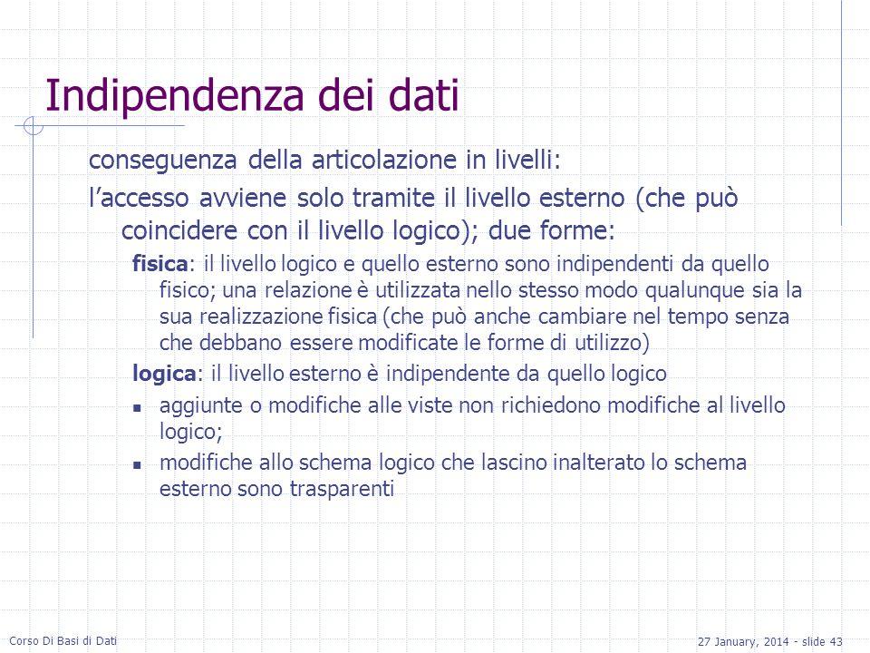 27 January, 2014 - slide 43 Corso Di Basi di Dati Indipendenza dei dati conseguenza della articolazione in livelli: laccesso avviene solo tramite il l