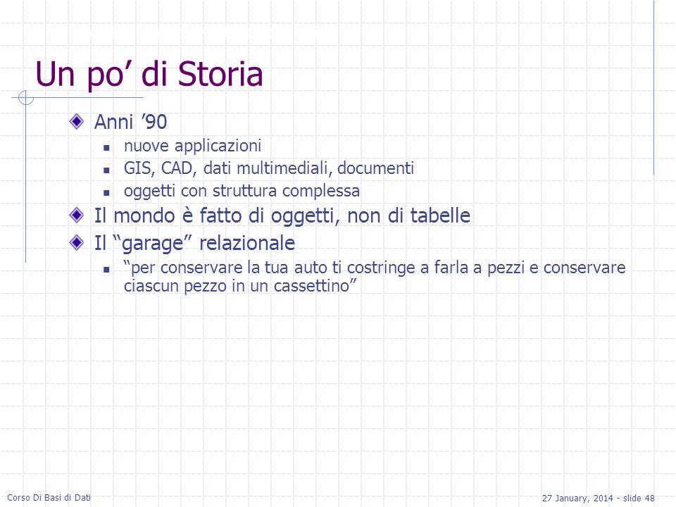 27 January, 2014 - slide 48 Corso Di Basi di Dati Un po di Storia Anni 90 nuove applicazioni GIS, CAD, dati multimediali, documenti oggetti con strutt