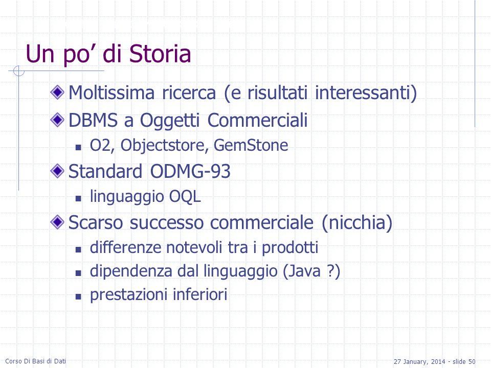 27 January, 2014 - slide 50 Corso Di Basi di Dati Un po di Storia Moltissima ricerca (e risultati interessanti) DBMS a Oggetti Commerciali O2, Objects