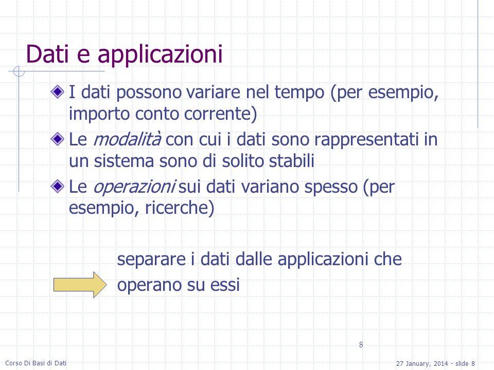 27 January, 2014 - slide 8 Corso Di Basi di Dati 8 Dati e applicazioni I dati possono variare nel tempo (per esempio, importo conto corrente) Le modal