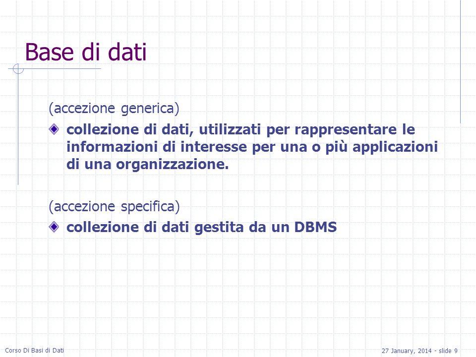 27 January, 2014 - slide 9 Corso Di Basi di Dati Base di dati (accezione generica) collezione di dati, utilizzati per rappresentare le informazioni di interesse per una o più applicazioni di una organizzazione.