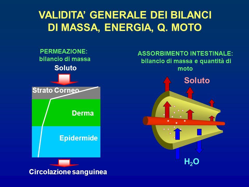 Strato Corneo Derma Epidermide Soluto Circolazione sanguinea PERMEAZIONE: bilancio di massa VALIDITA GENERALE DEI BILANCI DI MASSA, ENERGIA, Q. MOTO H