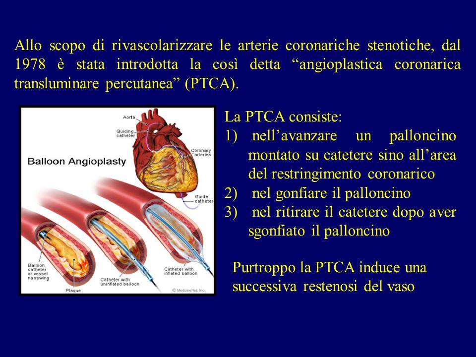 Allo scopo di rivascolarizzare le arterie coronariche stenotiche, dal 1978 è stata introdotta la così detta angioplastica coronarica transluminare per