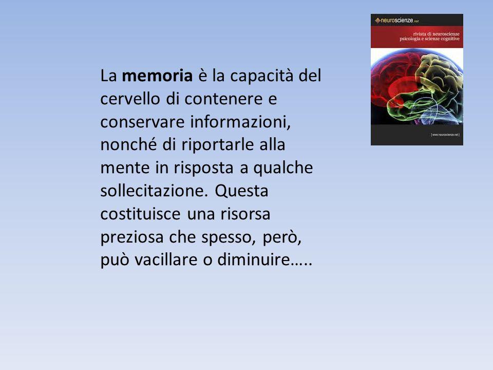 La memoria è la capacità del cervello di contenere e conservare informazioni, nonché di riportarle alla mente in risposta a qualche sollecitazione. Qu