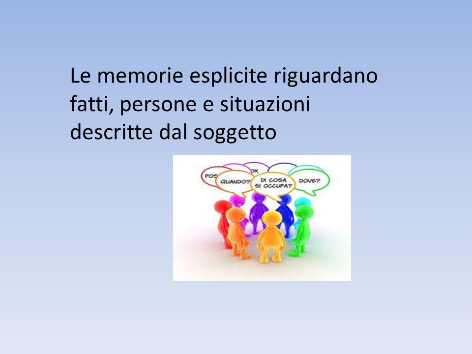 Il bagaglio di memorie esplicite di ciascuno può riguardare… L esperienza personale diretta…..detta anche MEMORIA AUTOBIOGRAFICA