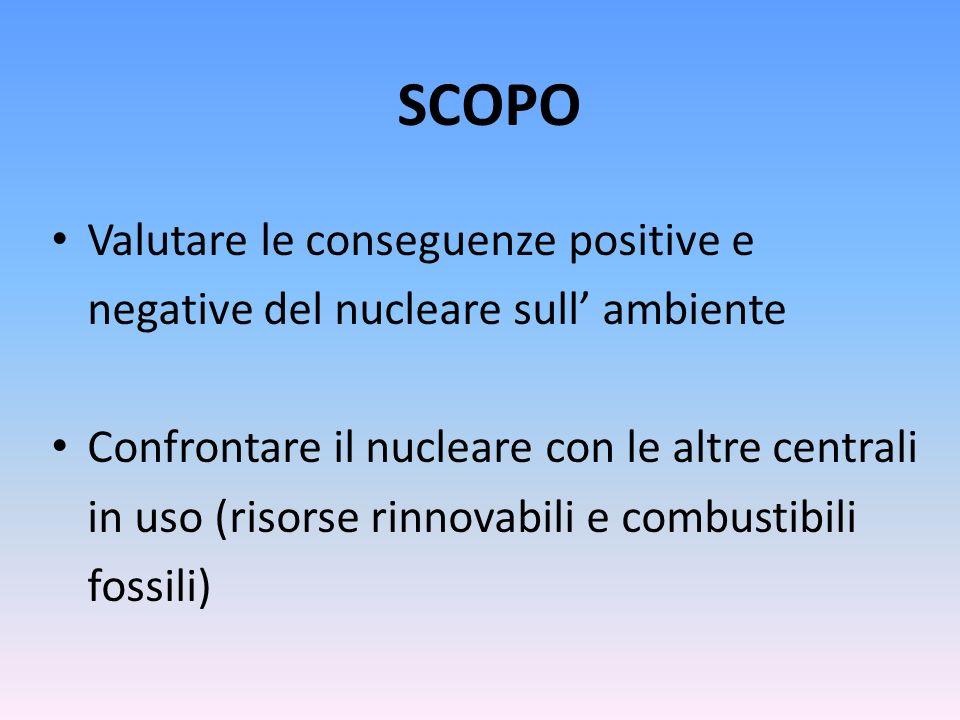 SCOPO Valutare le conseguenze positive e negative del nucleare sull ambiente Confrontare il nucleare con le altre centrali in uso (risorse rinnovabili