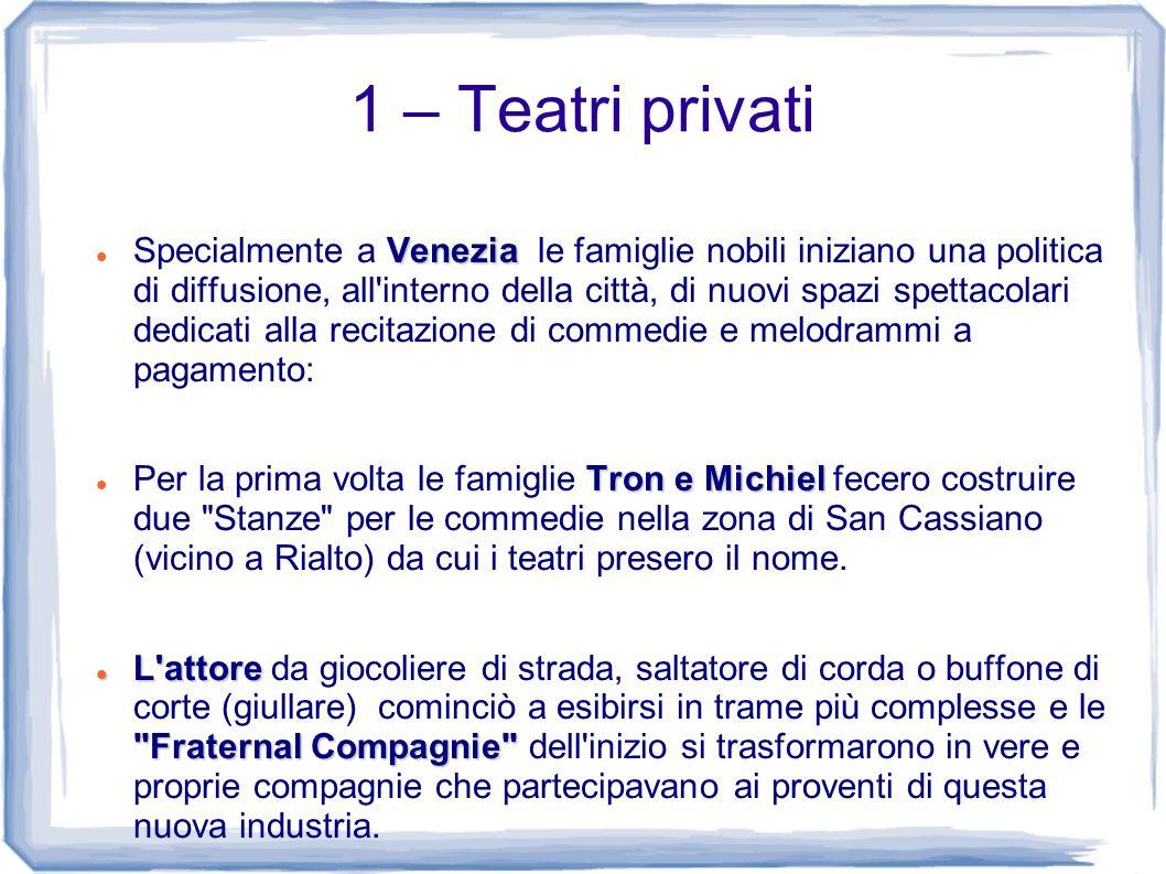 1 – Teatri privati Venezia Specialmente a Venezia le famiglie nobili iniziano una politica di diffusione, all'interno della città, di nuovi spazi spet
