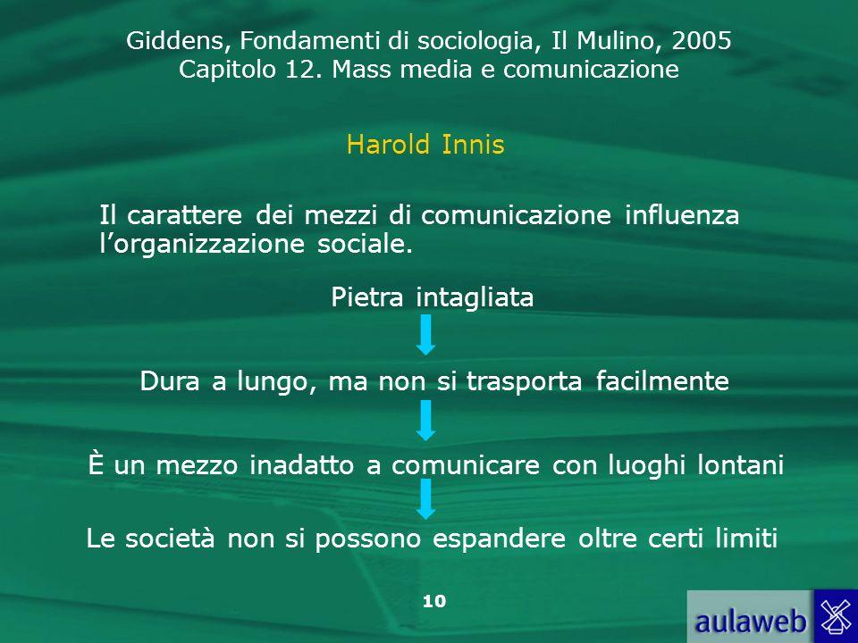 Giddens, Fondamenti di sociologia, Il Mulino, 2005 Capitolo 12. Mass media e comunicazione 10 Harold Innis Il carattere dei mezzi di comunicazione inf