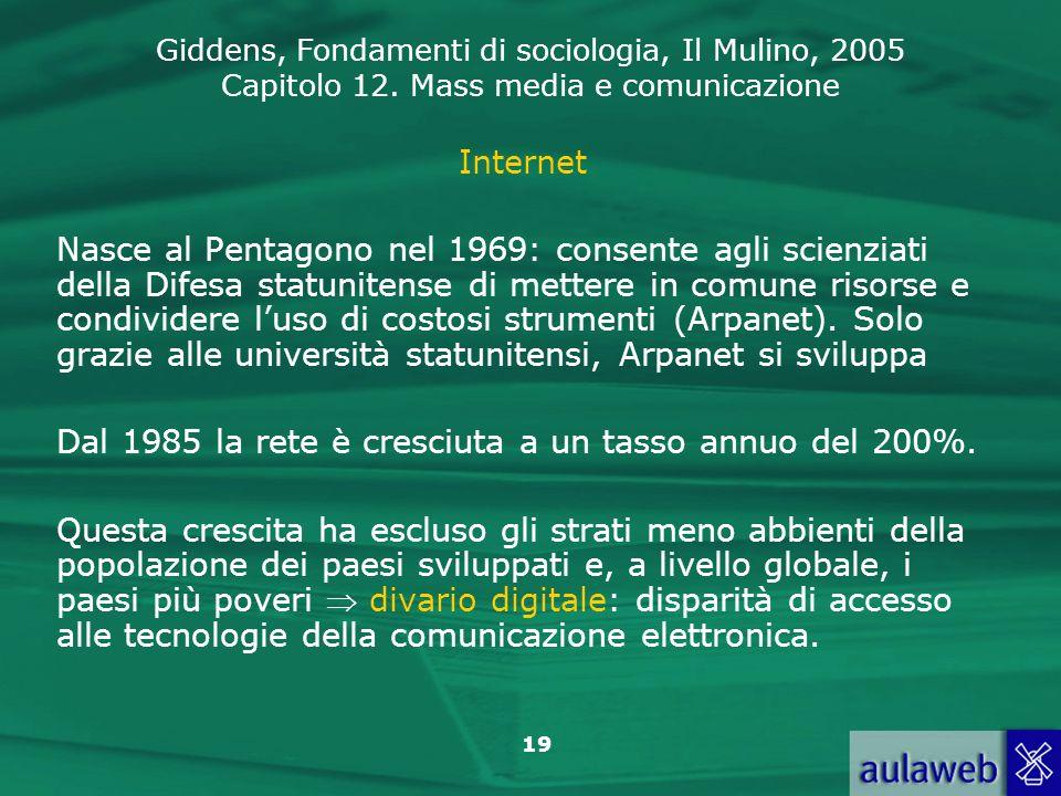 Giddens, Fondamenti di sociologia, Il Mulino, 2005 Capitolo 12. Mass media e comunicazione 19 Internet Nasce al Pentagono nel 1969: consente agli scie