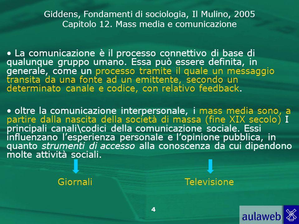 Giddens, Fondamenti di sociologia, Il Mulino, 2005 Capitolo 12. Mass media e comunicazione 4 La comunicazione è il processo connettivo di base di qual