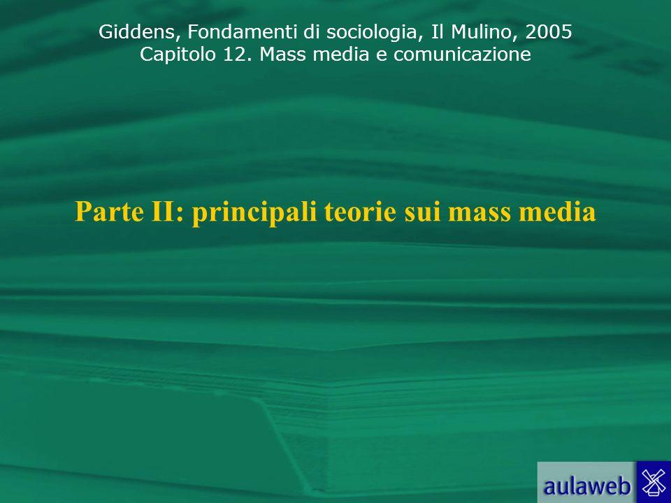 Giddens, Fondamenti di sociologia, Il Mulino, 2005 Capitolo 12. Mass media e comunicazione Parte II: principali teorie sui mass media