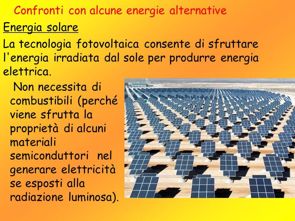 Confronti con alcune energie alternative Energia solare La tecnologia fotovoltaica consente di sfruttare l'energia irradiata dal sole per produrre ene