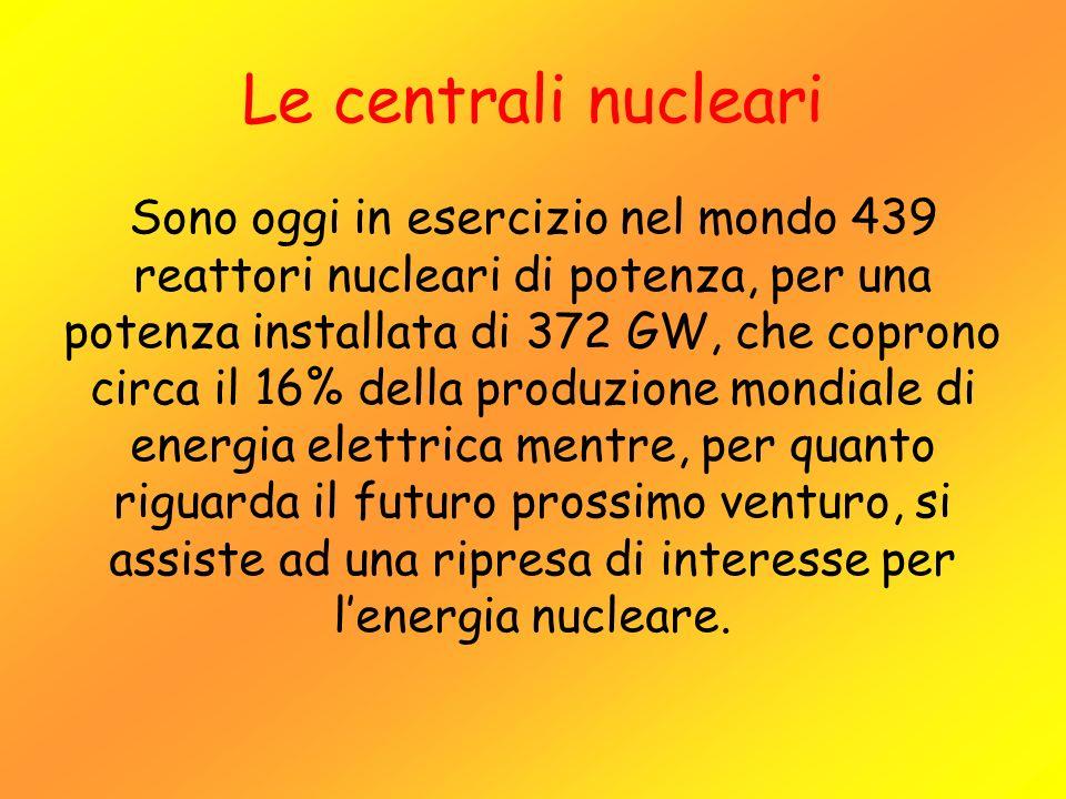 Le centrali nucleari Sono oggi in esercizio nel mondo 439 reattori nucleari di potenza, per una potenza installata di 372 GW, che coprono circa il 16%