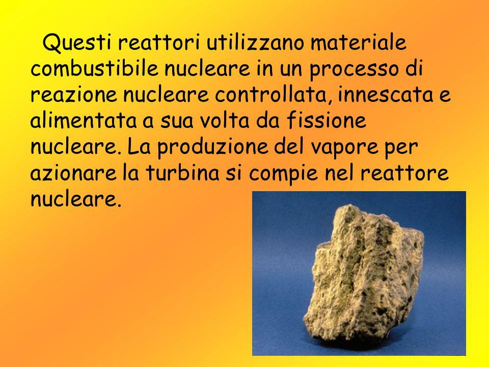 Questi reattori utilizzano materiale combustibile nucleare in un processo di reazione nucleare controllata, innescata e alimentata a sua volta da fiss