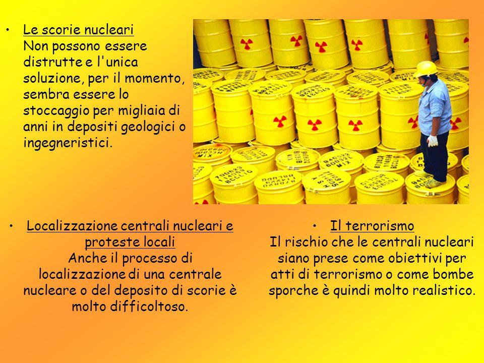 Le scorie nucleari Non possono essere distrutte e l'unica soluzione, per il momento, sembra essere lo stoccaggio per migliaia di anni in depositi geol