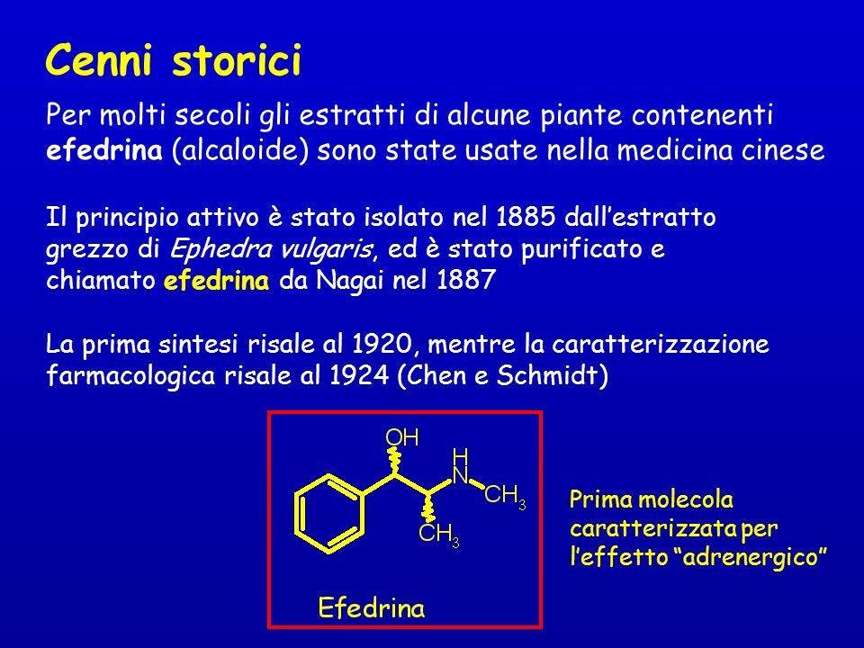 Cenni storici Per molti secoli gli estratti di alcune piante contenenti efedrina (alcaloide) sono state usate nella medicina cinese Il principio attiv