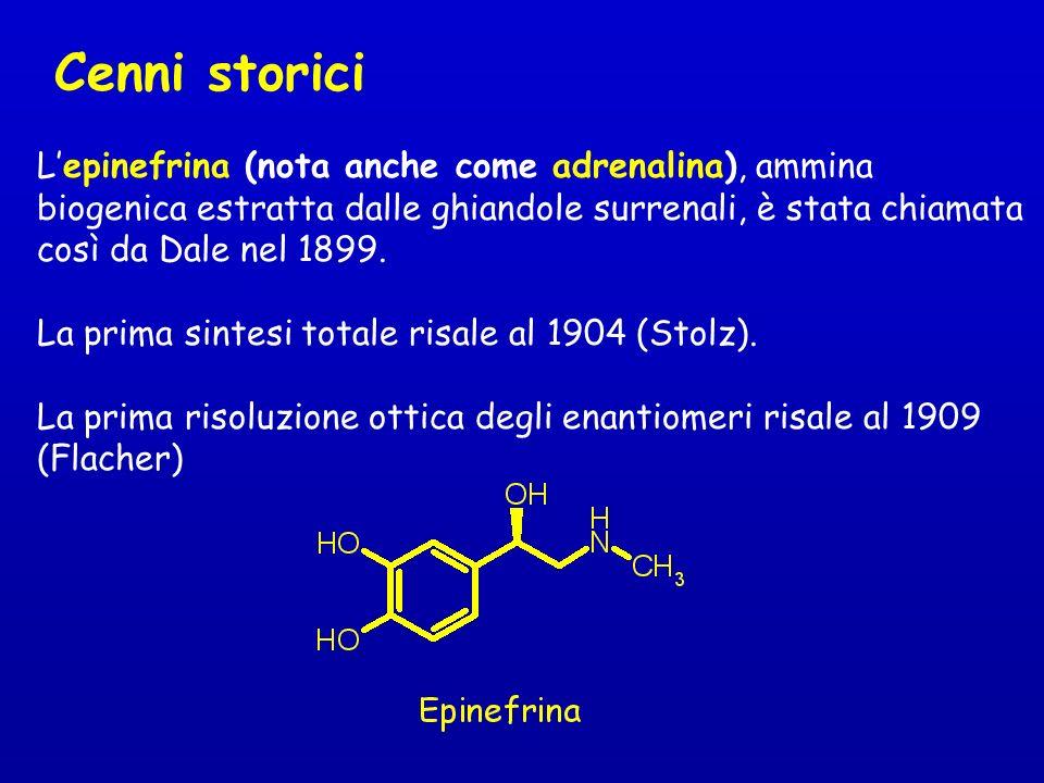 Cenni storici Lepinefrina (nota anche come adrenalina), ammina biogenica estratta dalle ghiandole surrenali, è stata chiamata così da Dale nel 1899. L