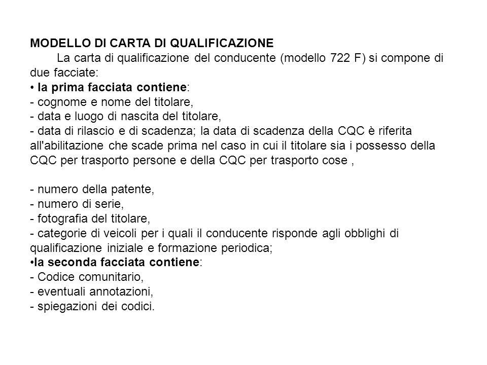 MODELLO DI CARTA DI QUALIFICAZIONE La carta di qualificazione del conducente (modello 722 F) si compone di due facciate: la prima facciata contiene: -