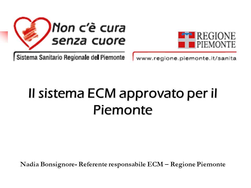 Il sistema ECM approvato per il Piemonte Nadia Bonsignore- Referente responsabile ECM – Regione Piemonte