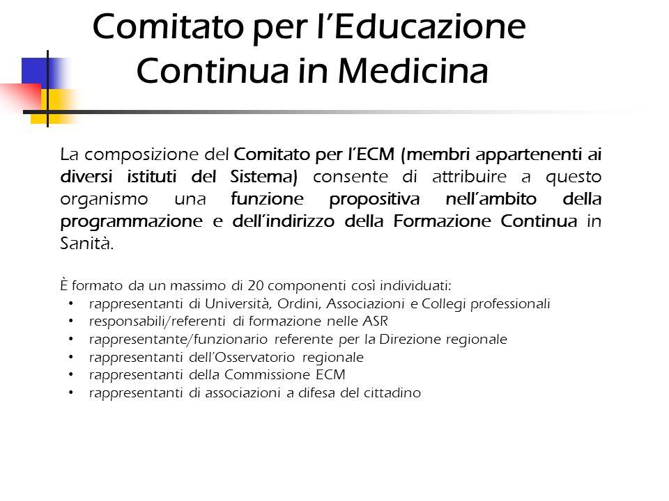 Comitato per lEducazione Continua in Medicina La composizione del Comitato per lECM (membri appartenenti ai diversi istituti del Sistema) consente di attribuire a questo organismo una funzione propositiva nellambito della programmazione e dellindirizzo della Formazione Continua in Sanità.