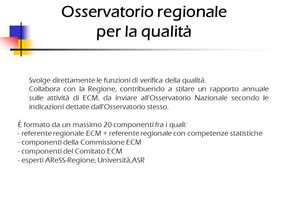 Osservatorio regionale per la qualità Svolge direttamente le funzioni di verifica della qualità.