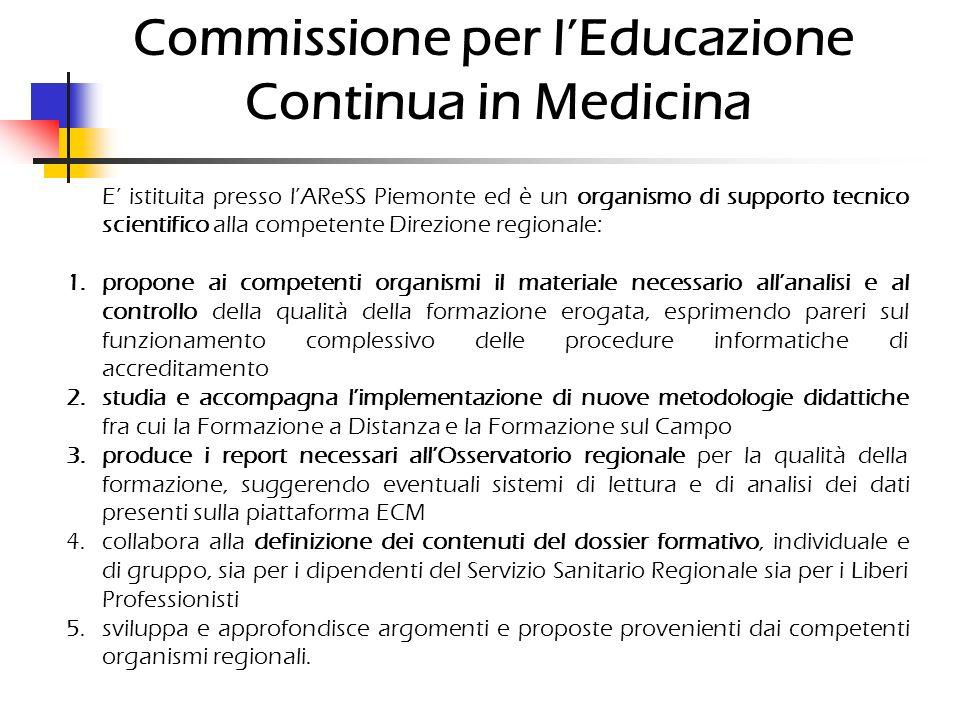 Commissione per lEducazione Continua in Medicina E istituita presso lAReSS Piemonte ed è un organismo di supporto tecnico scientifico alla competente
