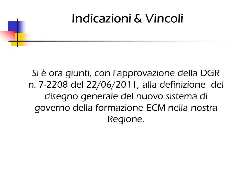 Indicazioni & Vincoli Si è ora giunti, con lapprovazione della DGR n. 7-2208 del 22/06/2011, alla definizione del disegno generale del nuovo sistema d