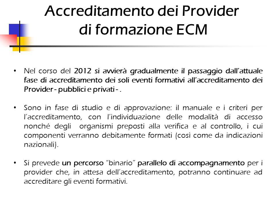 Accreditamento dei Provider di formazione ECM Nel corso del 2012 si avvierà gradualmente il passaggio dallattuale fase di accreditamento dei soli even
