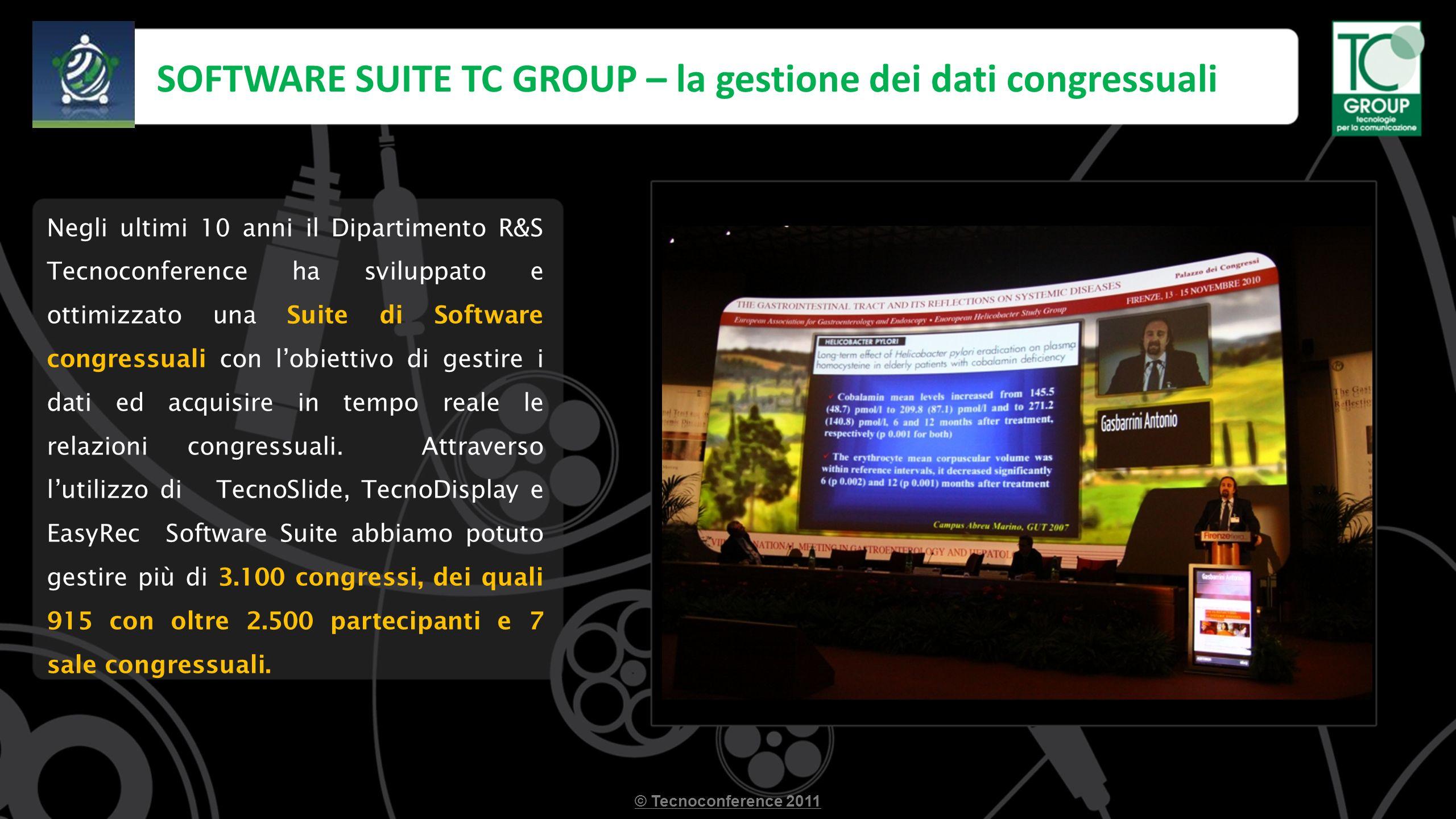 SOFTWARE SUITE TC GROUP – la gestione dei dati congressuali © Tecnoconference 2011 Negli ultimi 10 anni il Dipartimento R&S Tecnoconference ha sviluppato e ottimizzato una Suite di Software congressuali con lobiettivo di gestire i dati ed acquisire in tempo reale le relazioni congressuali.