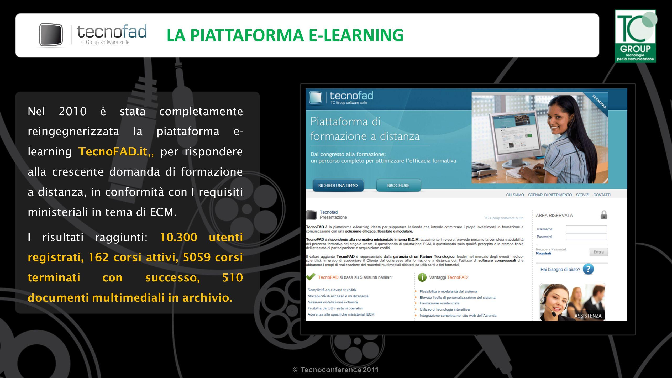 LA PIATTAFORMA E-LEARNING Nel 2010 è stata completamente reingegnerizzata la piattaforma e- learning TecnoFAD.it,, per rispondere alla crescente domanda di formazione a distanza, in conformità con I requisiti ministeriali in tema di ECM.