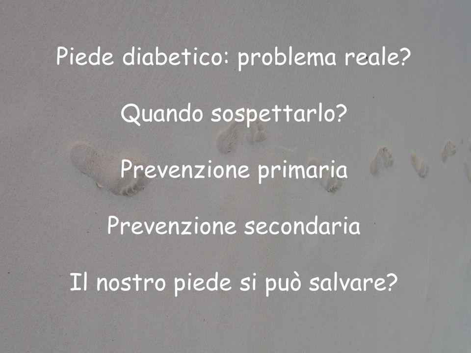 Piede diabetico: problema reale? Quando sospettarlo? Prevenzione primaria Prevenzione secondaria Il nostro piede si può salvare?
