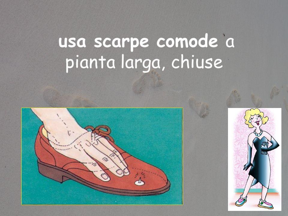 usa scarpe comode a pianta larga, chiuse