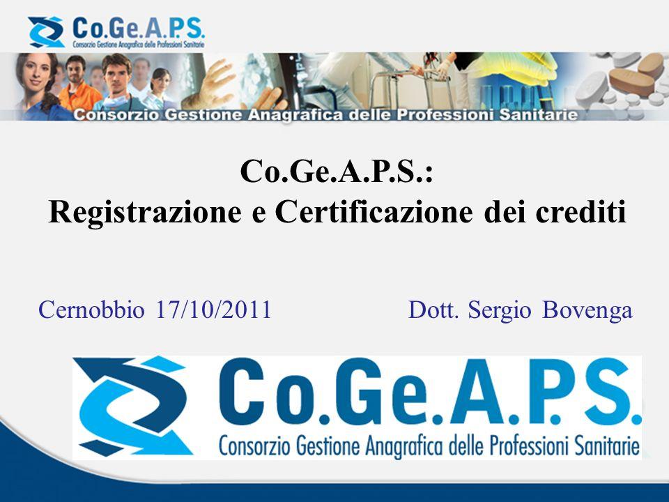 Il Co.Ge.A.P.S.è lAnagrafe Nazionale dei Crediti Formativi.