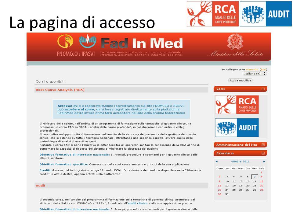 La pagina di accesso