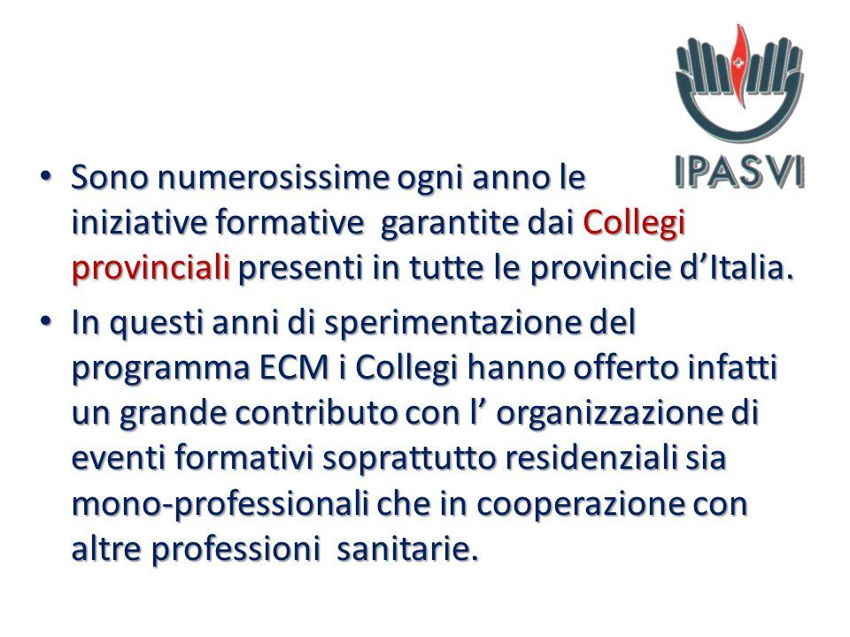 Sono numerosissime ogni anno le iniziative formative garantite dai Collegi provinciali presenti in tutte le provincie dItalia. Sono numerosissime ogni