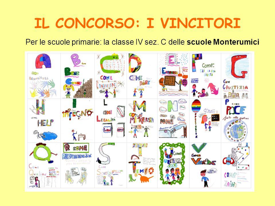 IL CONCORSO: I VINCITORI Per le scuole primarie: la classe IV sez. C delle scuole Monterumici