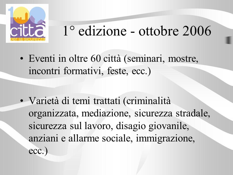 1° edizione - ottobre 2006 Eventi in oltre 60 città (seminari, mostre, incontri formativi, feste, ecc.) Varietà di temi trattati (criminalità organizz