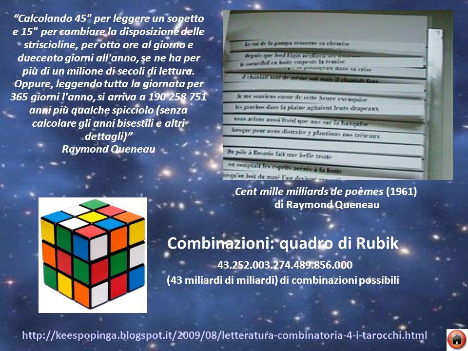 Cent mille milliards de poèmes (1961) di Raymond Queneau http://keespopinga.blogspot.it/2009/08/letteratura-combinatoria-4-i-tarocchi.html Calcolando