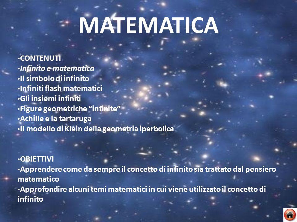 MATEMATICA CONTENUTI Infinito e matematica Il simbolo di infinito Infiniti flash matematici Gli insiemi infiniti Figure geometriche infinite Achille e