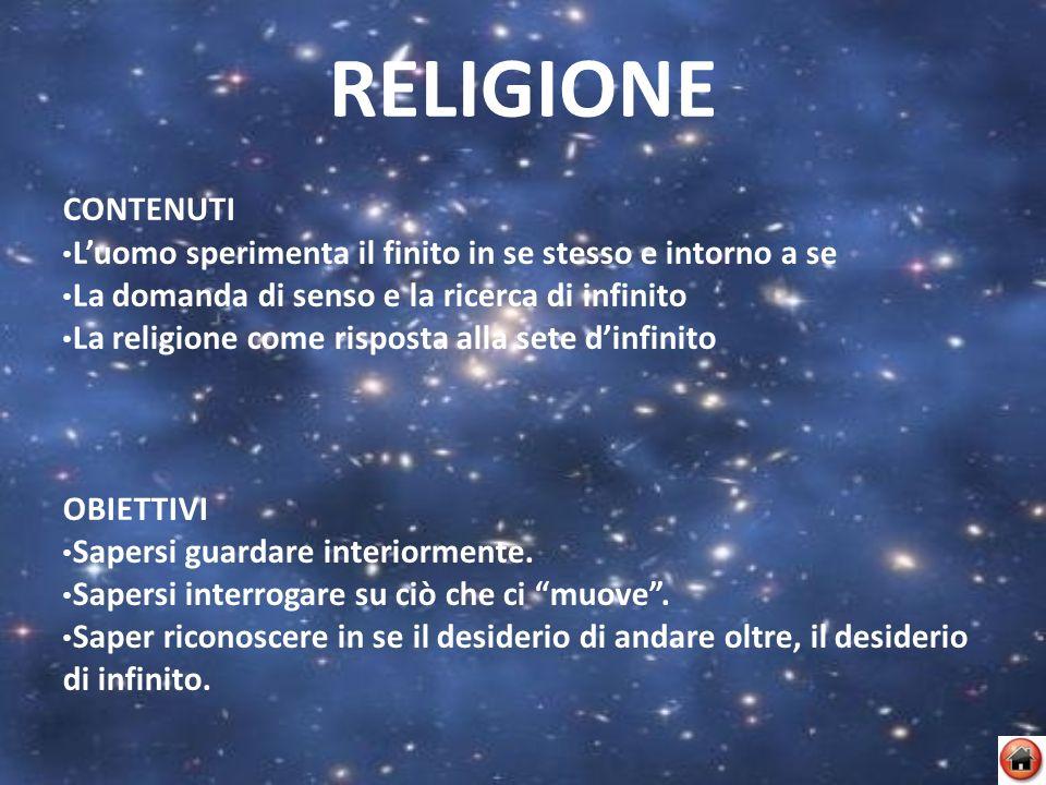 RELIGIONE CONTENUTI Luomo sperimenta il finito in se stesso e intorno a se La domanda di senso e la ricerca di infinito La religione come risposta all