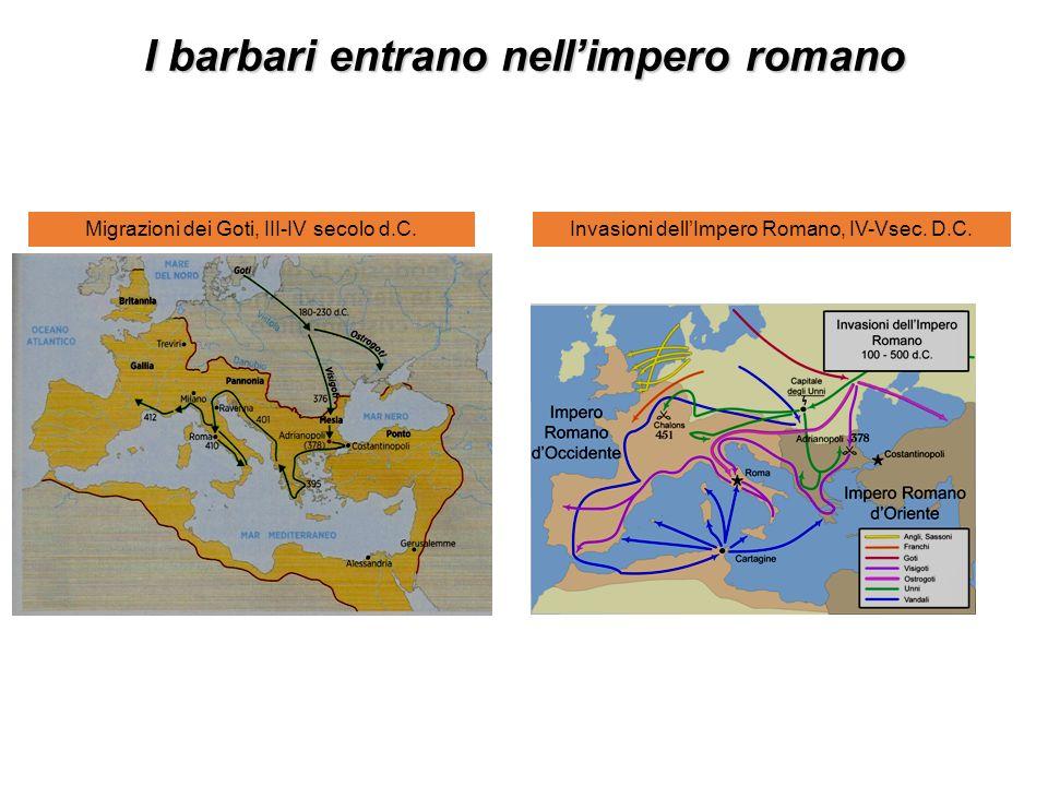 I barbari entrano nellimpero romano Migrazioni dei Goti, III-IV secolo d.C.Invasioni dellImpero Romano, IV-Vsec.