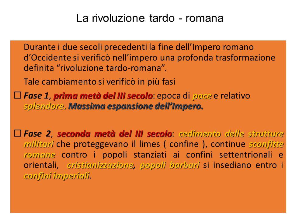 La rivoluzione tardo - romana Durante i due secoli precedenti la fine dellImpero romano dOccidente si verificò nellimpero una profonda trasformazione definita rivoluzione tardo-romana.