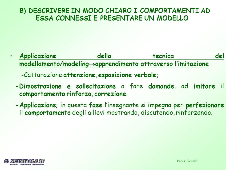 B) DESCRIVERE IN MODO CHIARO I COMPORTAMENTI AD ESSA CONNESSI E PRESENTARE UN MODELLO Applicazione della tecnica del modellamento/modeling apprendimen