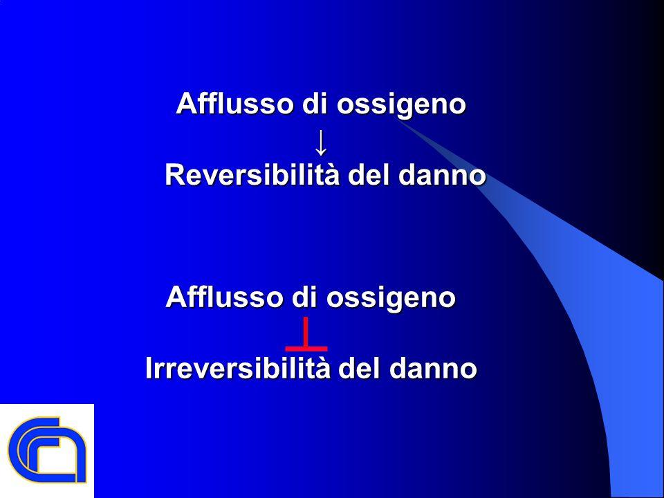 Afflusso di ossigeno Reversibilità del danno Reversibilità del danno Afflusso di ossigeno Irreversibilità del danno