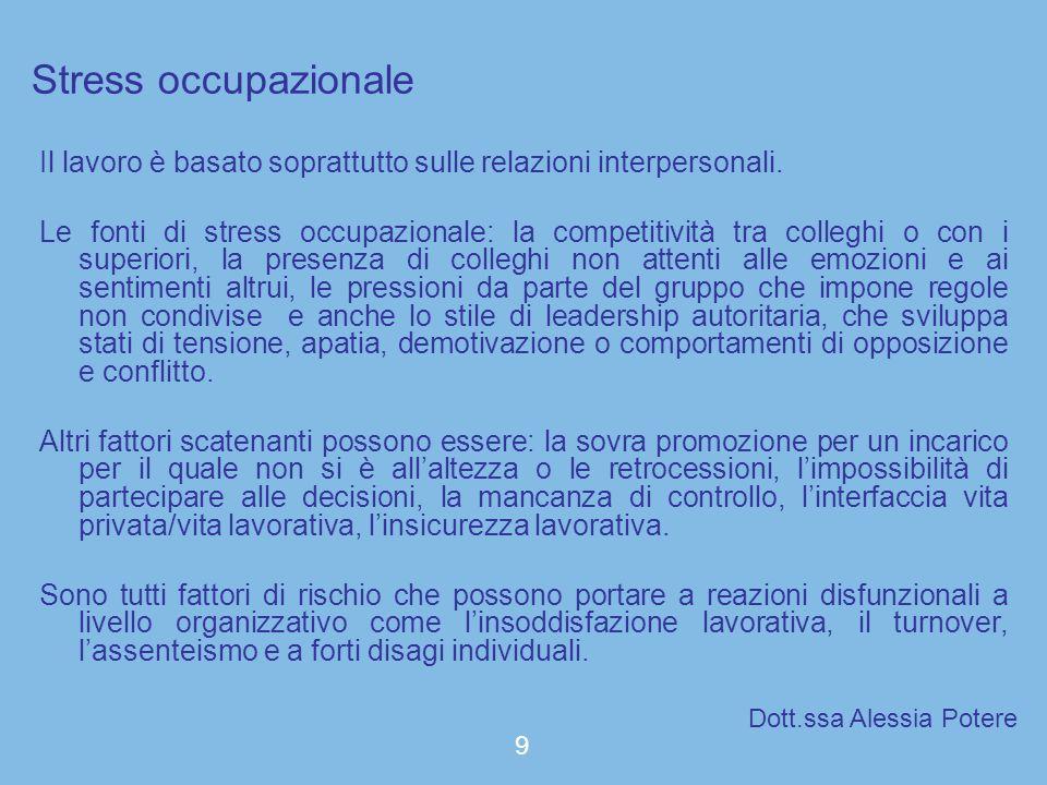 Stress occupazionale Il lavoro è basato soprattutto sulle relazioni interpersonali. Le fonti di stress occupazionale: la competitività tra colleghi o