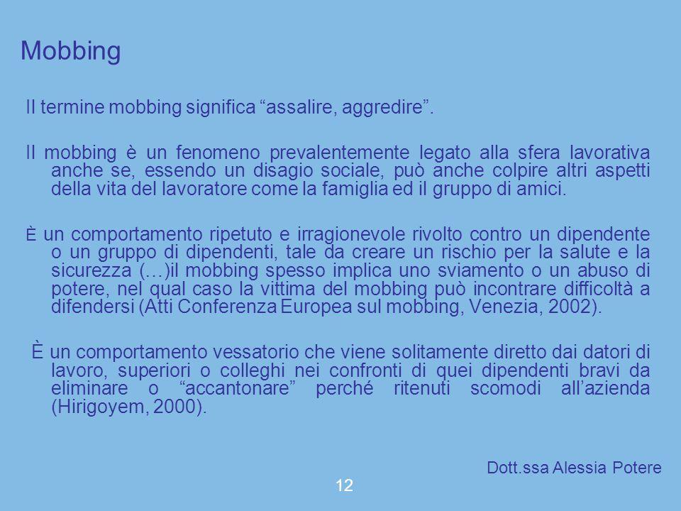 Mobbing Il termine mobbing significa assalire, aggredire. Il mobbing è un fenomeno prevalentemente legato alla sfera lavorativa anche se, essendo un d
