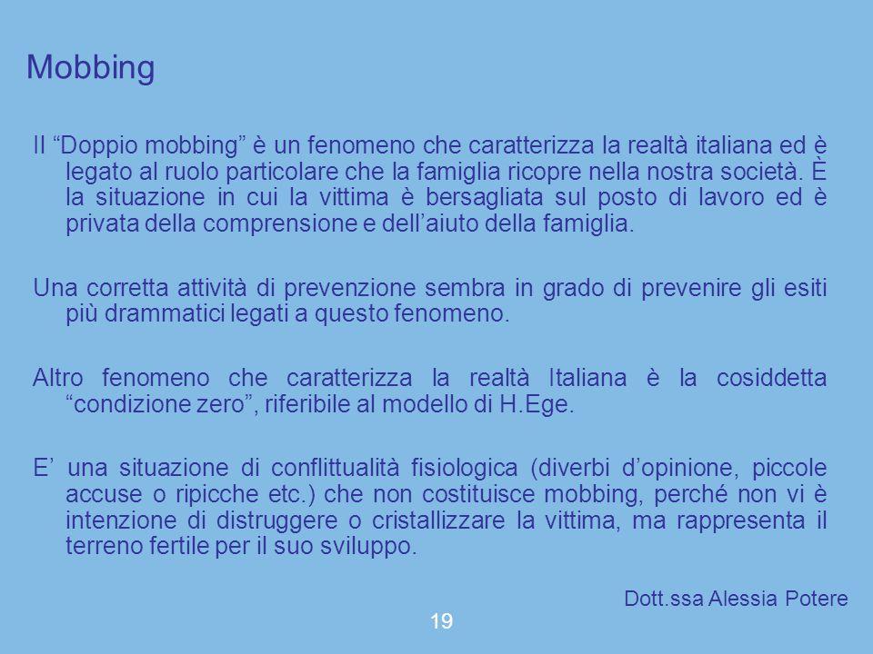 Mobbing Il Doppio mobbing è un fenomeno che caratterizza la realtà italiana ed è legato al ruolo particolare che la famiglia ricopre nella nostra soci