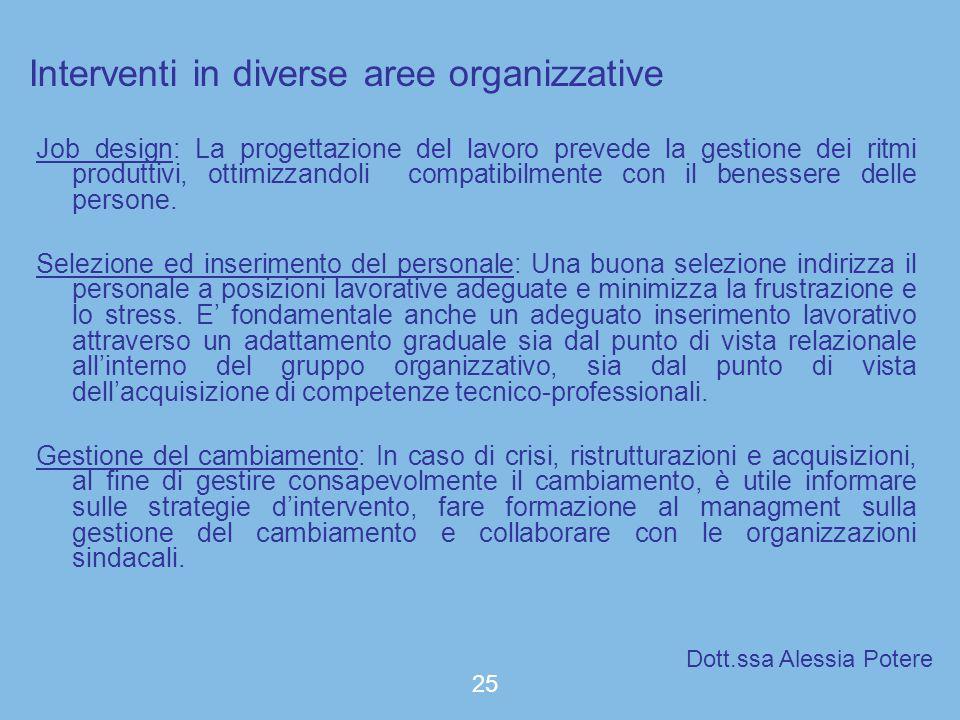 Interventi in diverse aree organizzative Job design: La progettazione del lavoro prevede la gestione dei ritmi produttivi, ottimizzandoli compatibilme