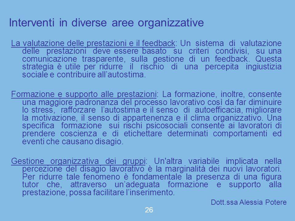 Interventi in diverse aree organizzative La valutazione delle prestazioni e il feedback: Un sistema di valutazione delle prestazioni deve essere basat