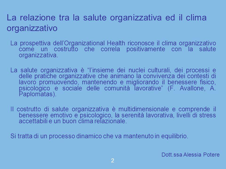 La relazione tra la salute organizzativa ed il clima organizzativo La prospettiva dellOrganizational Health riconosce il clima organizzativo come un c
